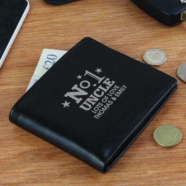 Personalised No.1 Leather Wallet with personalised name