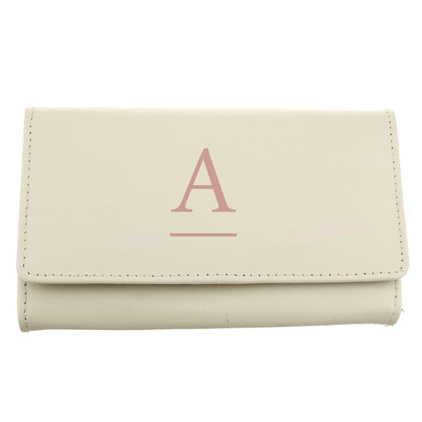 Personalised Initial Cream Leather Purse white background