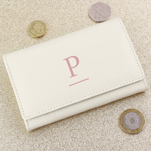 Personalised Initial Cream Leather Purse lifestyle image