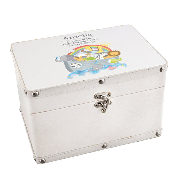 Personalised Noah's Ark White Leatherette Keepsake Box white background
