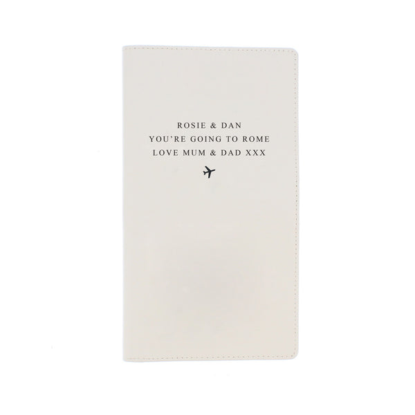 Personalised Any Message Travel Document Holder white background