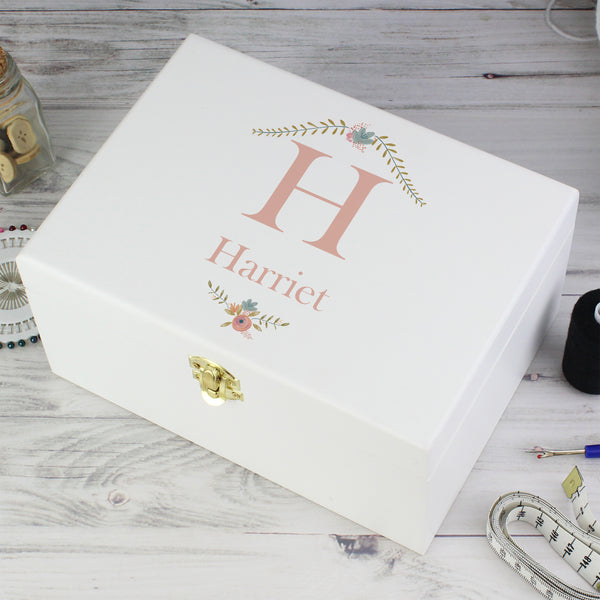 Personalised Floral Bouquet White Wooden Keepsake Box from Sassy Bloom Gifts - alternative view