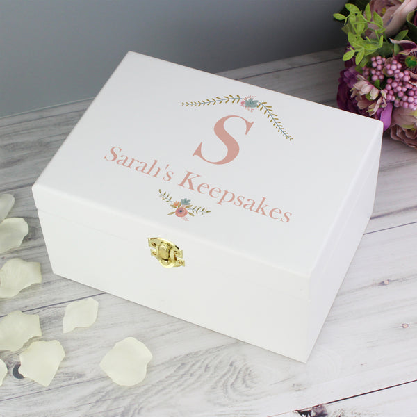 Personalised Floral Bouquet White Wooden Keepsake Box lifestyle image