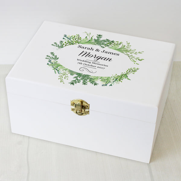 Personalised Fresh Botanical White Wooden Keepsake Box from Sassy Bloom Gifts - alternative view