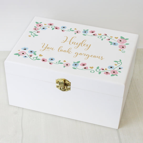 Personalised Fairytale Floral White Wooden Keepsake Box with personalised name