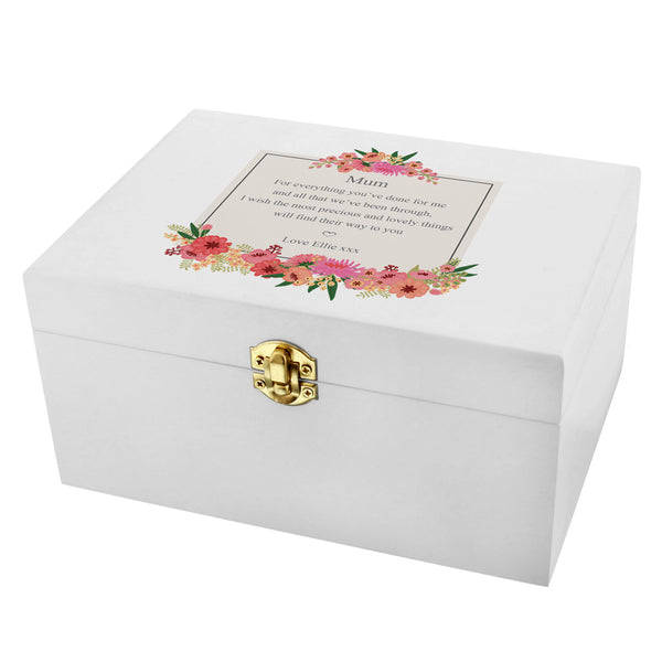 Personalised Floral Wishes White Wooden Keepsake Box white background