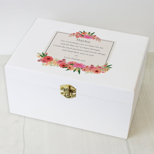 Personalised Floral Wishes White Wooden Keepsake Box from Sassy Bloom Gifts - alternative view
