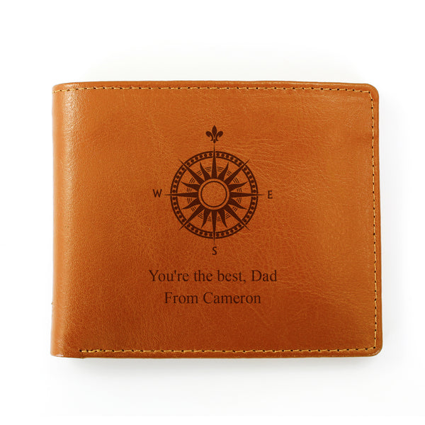 Personalised Compass Tan Leather Wallet white background
