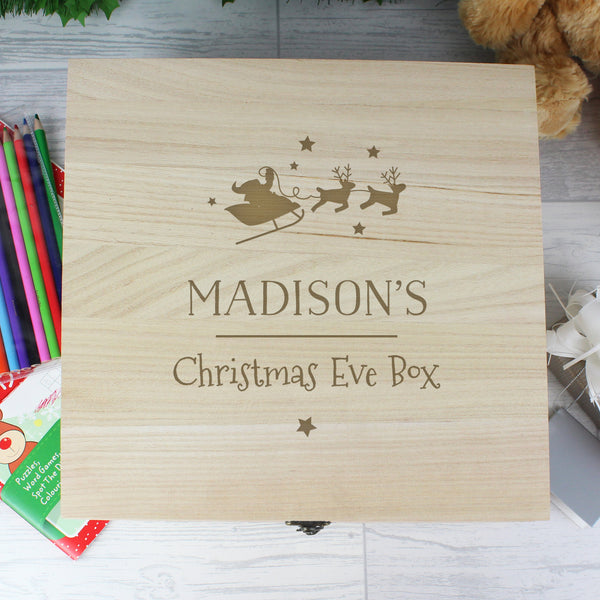 Personalised Large Wooden Christmas Eve Box with personalised name