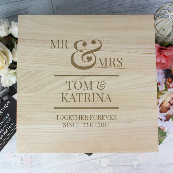 Personalised Mr & Mrs Large Wooden Keepsake Box with personalised name