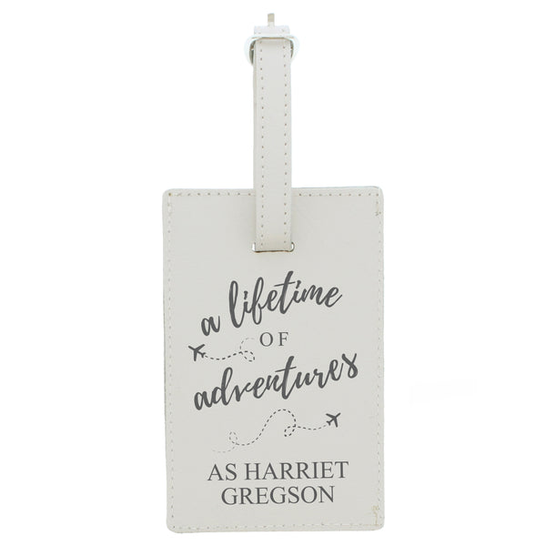 Personalised 'Lifetime of Adventures' Cream Luggage Tag white background