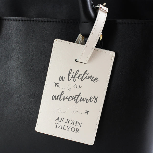 Personalised 'Lifetime of Adventures' Cream Luggage Tag from Sassy Bloom Gifts - alternative view