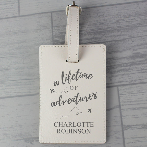 Personalised 'Lifetime of Adventures' Cream Luggage Tag with personalised name