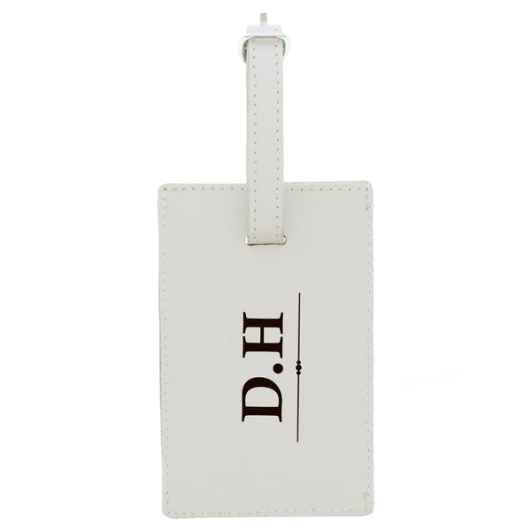 Personalised Classic Initials Cream Luggage Tag white background