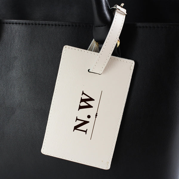 Personalised Classic Initials Cream Luggage Tag from Sassy Bloom Gifts - alternative view