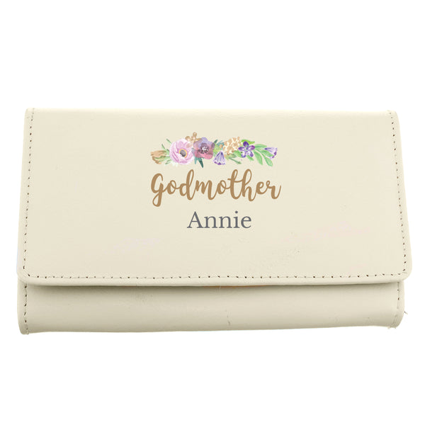 Personalised Floral Watercolour Cream Purse white background
