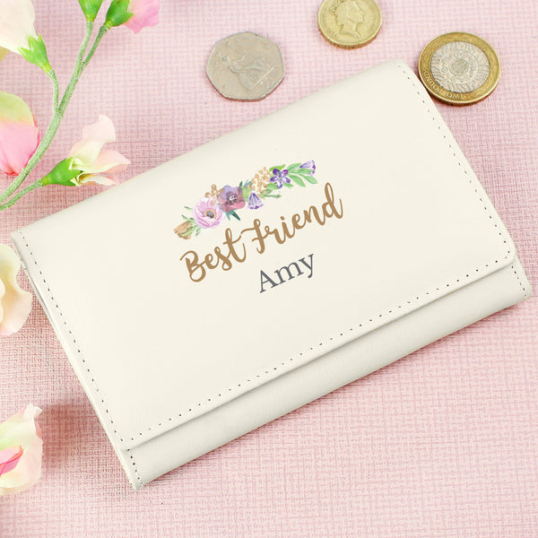 Personalised Floral Watercolour Cream Purse with personalised name