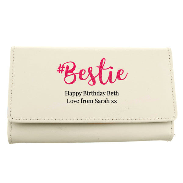 Personalised #Bestie Cream Purse white background