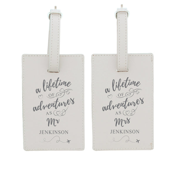 Personalised 'Lifetime of Adventures' Mr and Mrs Luggage Tags white background