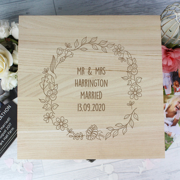 Personalised Floral Wreath Large Wooden Keepsake Box with personalised name