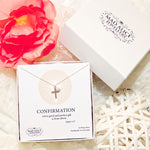 Confirmation cross and pearl sterling silver necklace