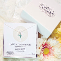 Holy Communion cross and pearl sterling silver necklace