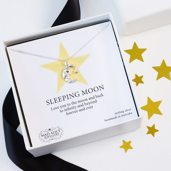 Sleeping Moon sterling silver necklace