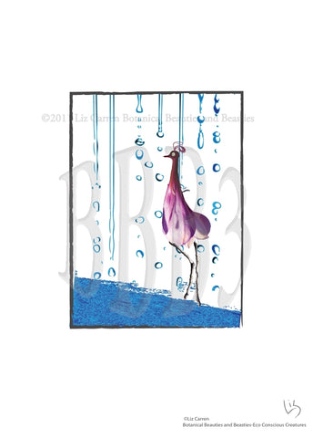 Greeting Card- Zoie in the rain, blank