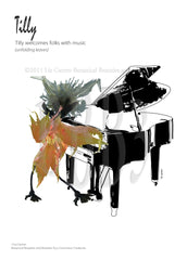 GREETING CARD-Tilly at the piano, blank