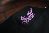 seint woman's purple glitter logo on hoodie