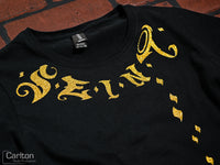 Seint Ladies Black Short Sleeve with Gold Glitter