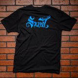 "Seint Black and Blue Short Sleeve Shirt ""Overcompensating"""