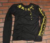 Seint Black Long Sleeve Shirt with Yellow Logos