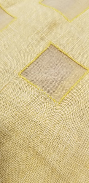 Vintage 1920's Yellow Linen and Cotton Summer Dress
