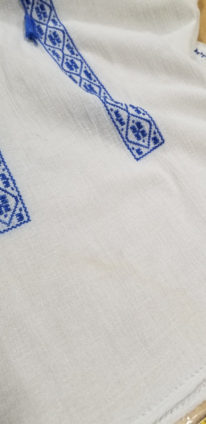 Vintage White Peasant Blouse with White and Blue Embroidery FREE SHIPPING