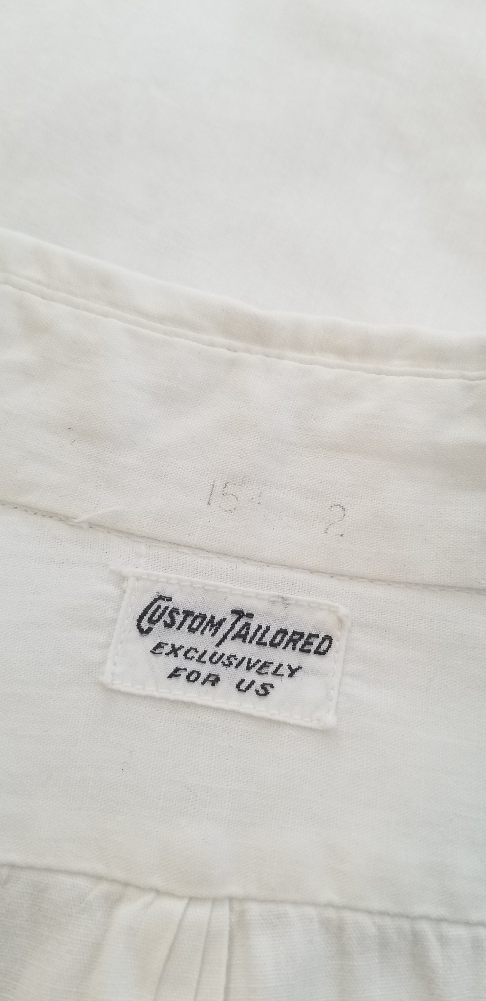 30's/40's Men's White Cotton Side Gusset Dress Shirt FREE SHIPPING TO THE U.S.