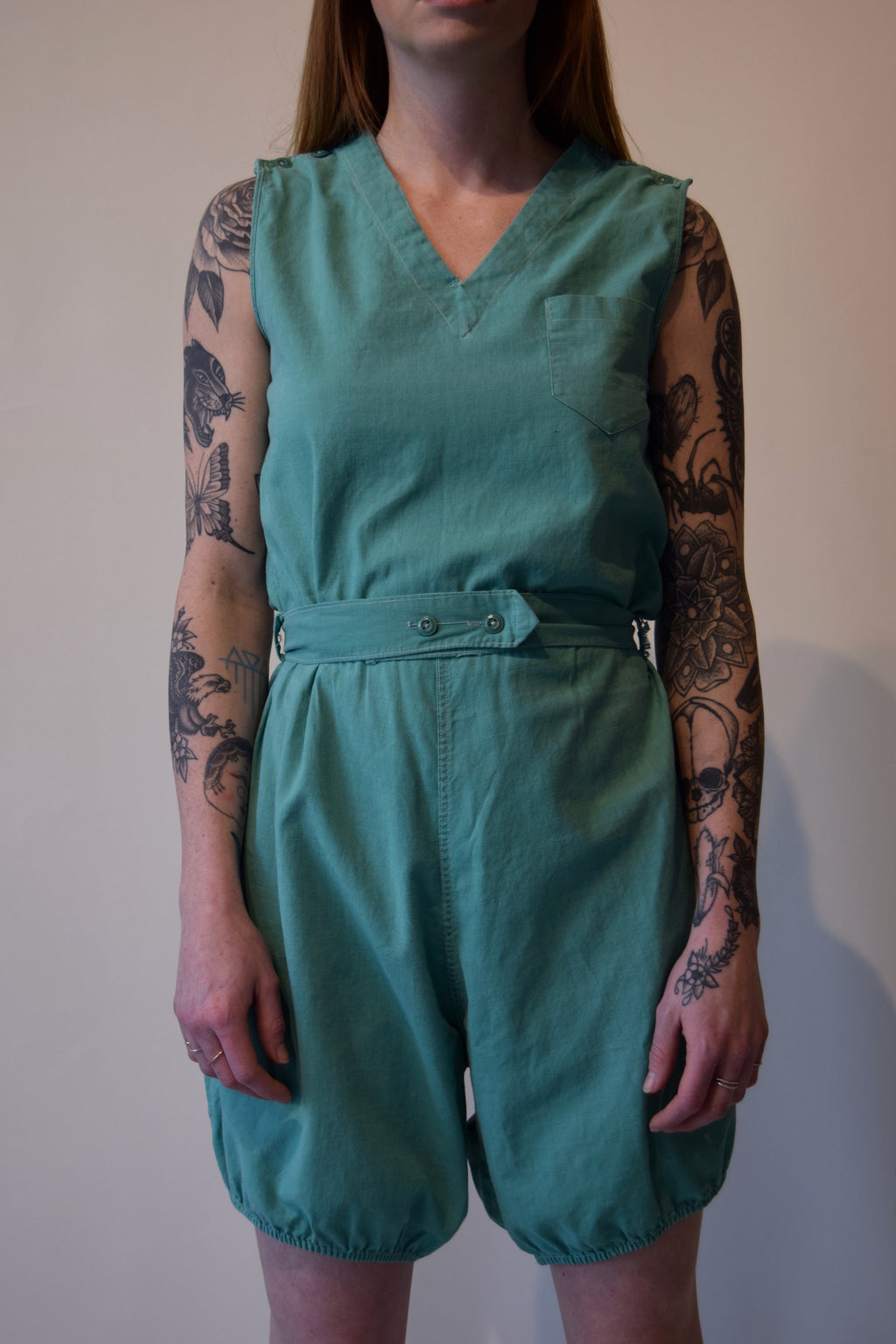 Vintage 1920's/1930's Seafoam Gym Outfit Romper with Embroidery
