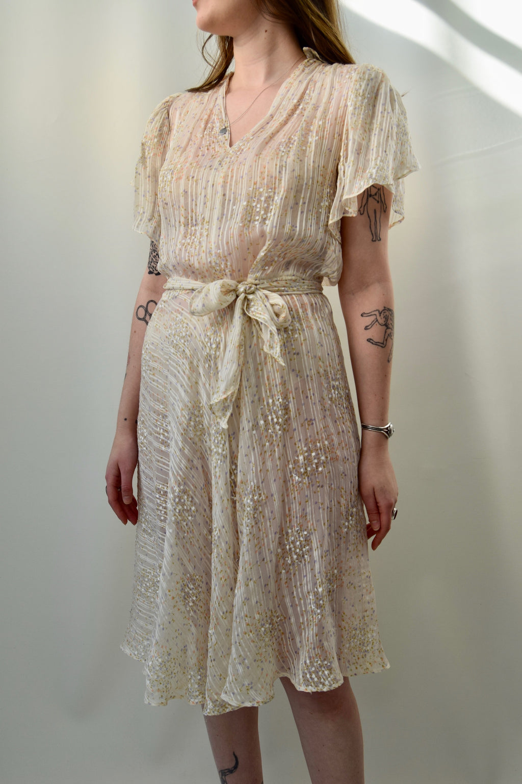 Vintage Sheer Silk Flutter Sleeve Dress FREE SHIPPING TO THE U.S.