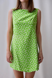 60's Green Mini Floral Dress