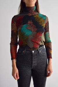 Feather Mesh Turtle Neck Top