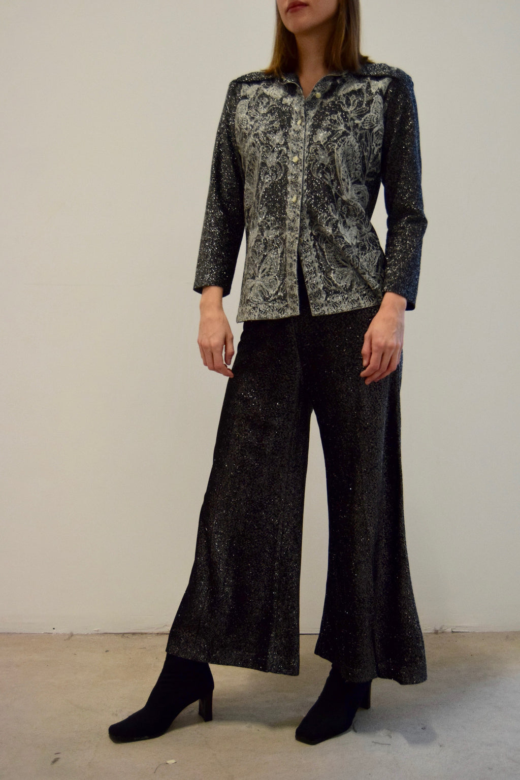 1970's Black and Silver Metallic Butterfly Pant Suit