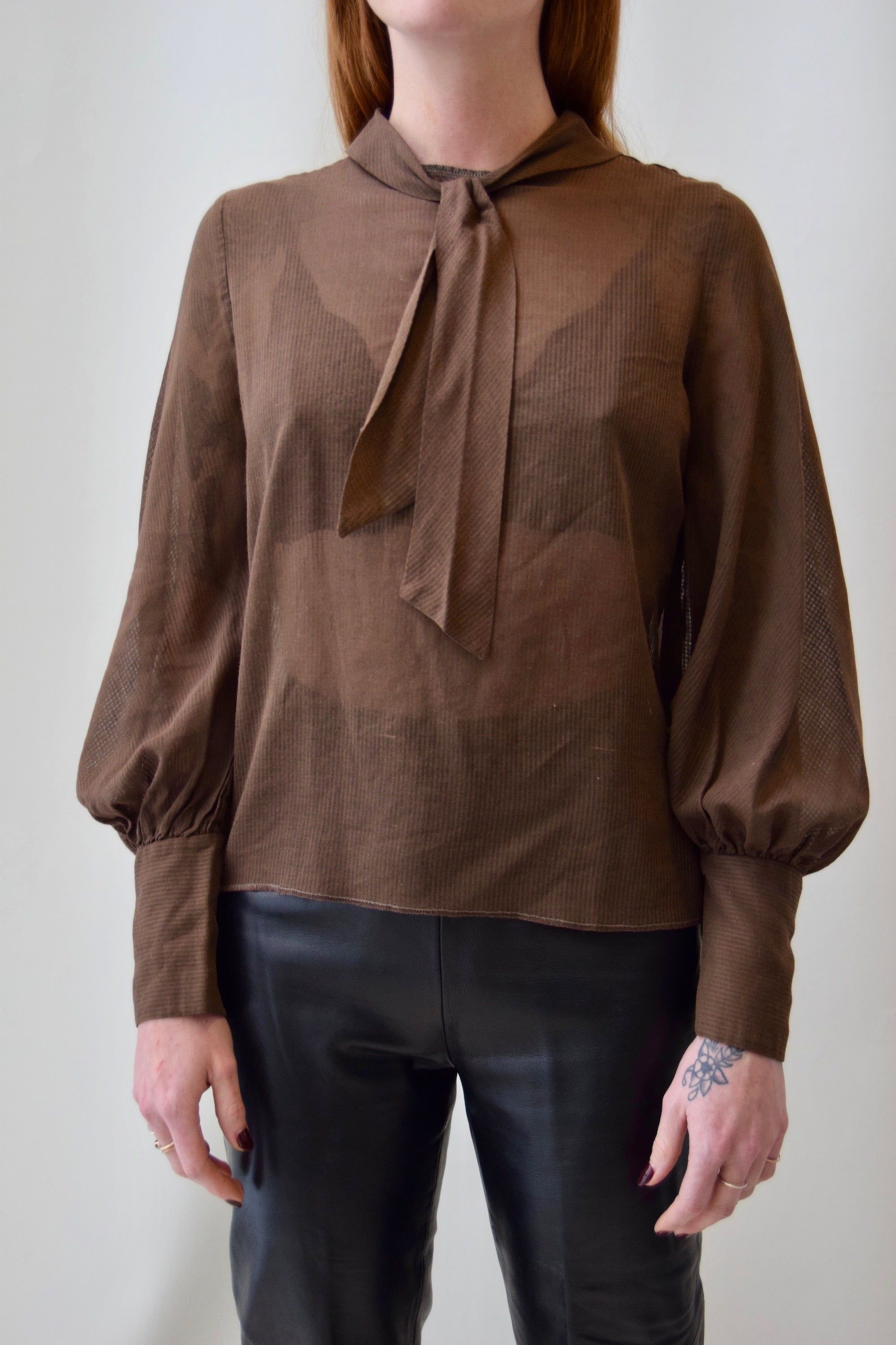 1960's Sheer Brown Striped Blouse
