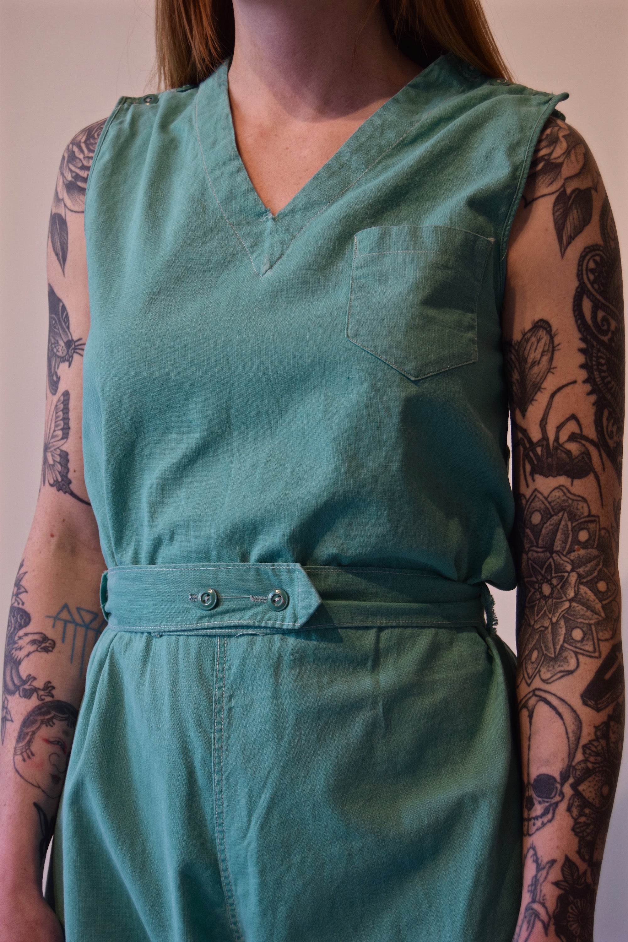 Vintage 1920's/1930's Seafoam Gym Outfit Romper with Embroidery FREE SHIPPING TO THE U.S.