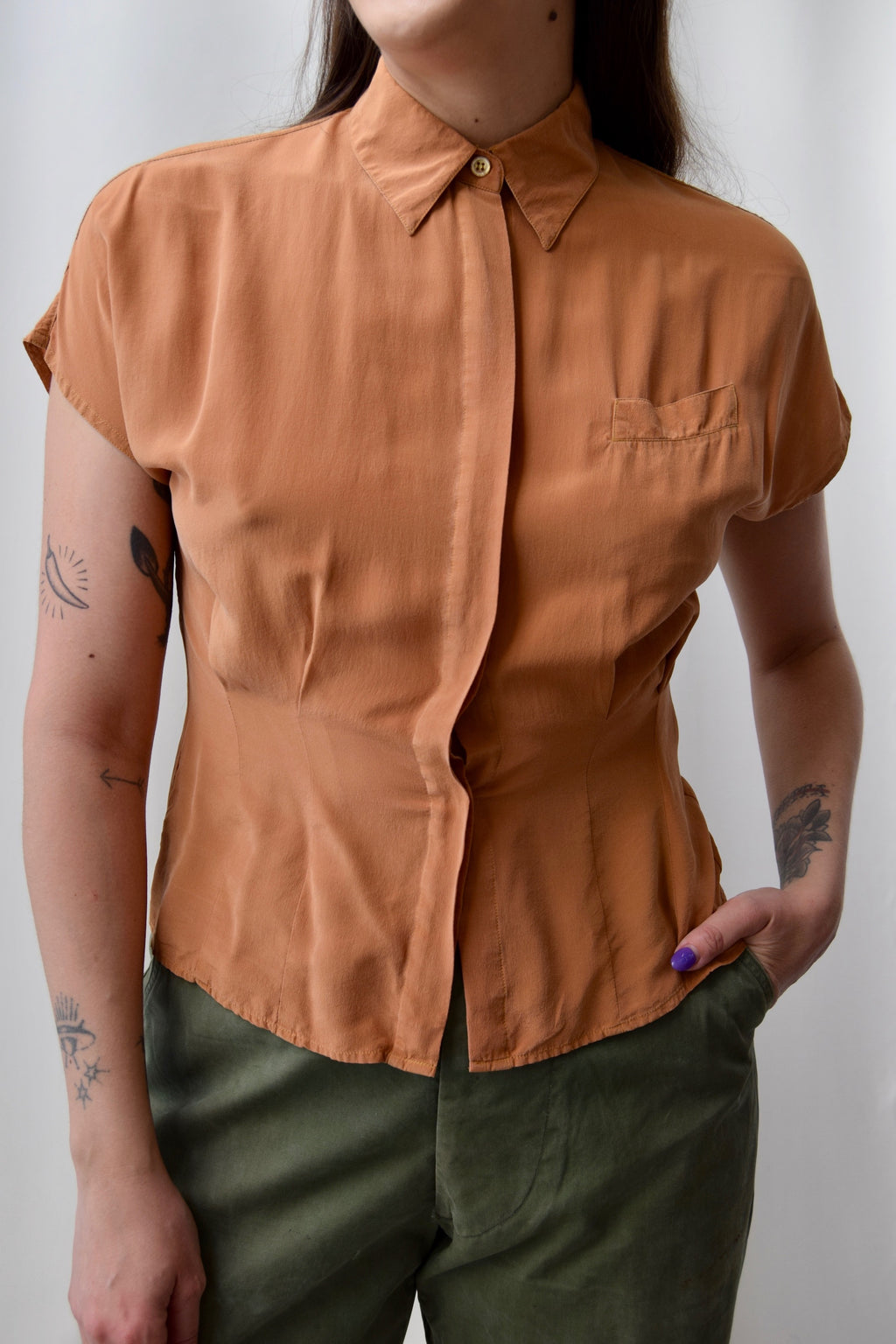Bronze Silk Blouse FREE SHIPPING TO THE UNITED STATES
