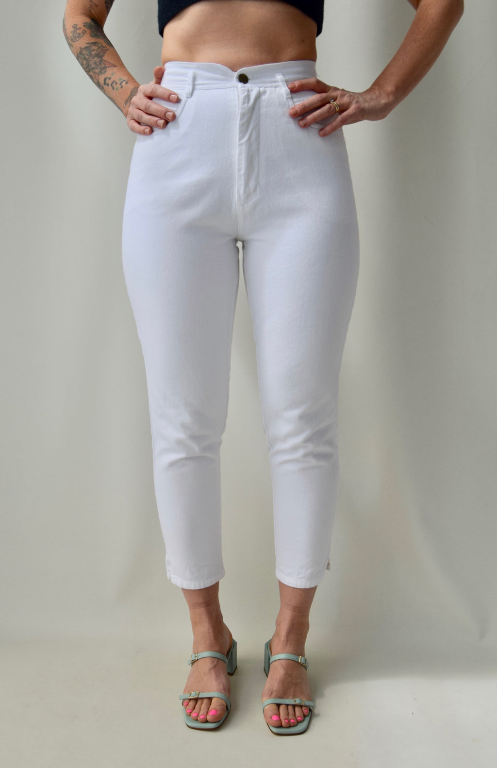 Cropped White Slim Jeans