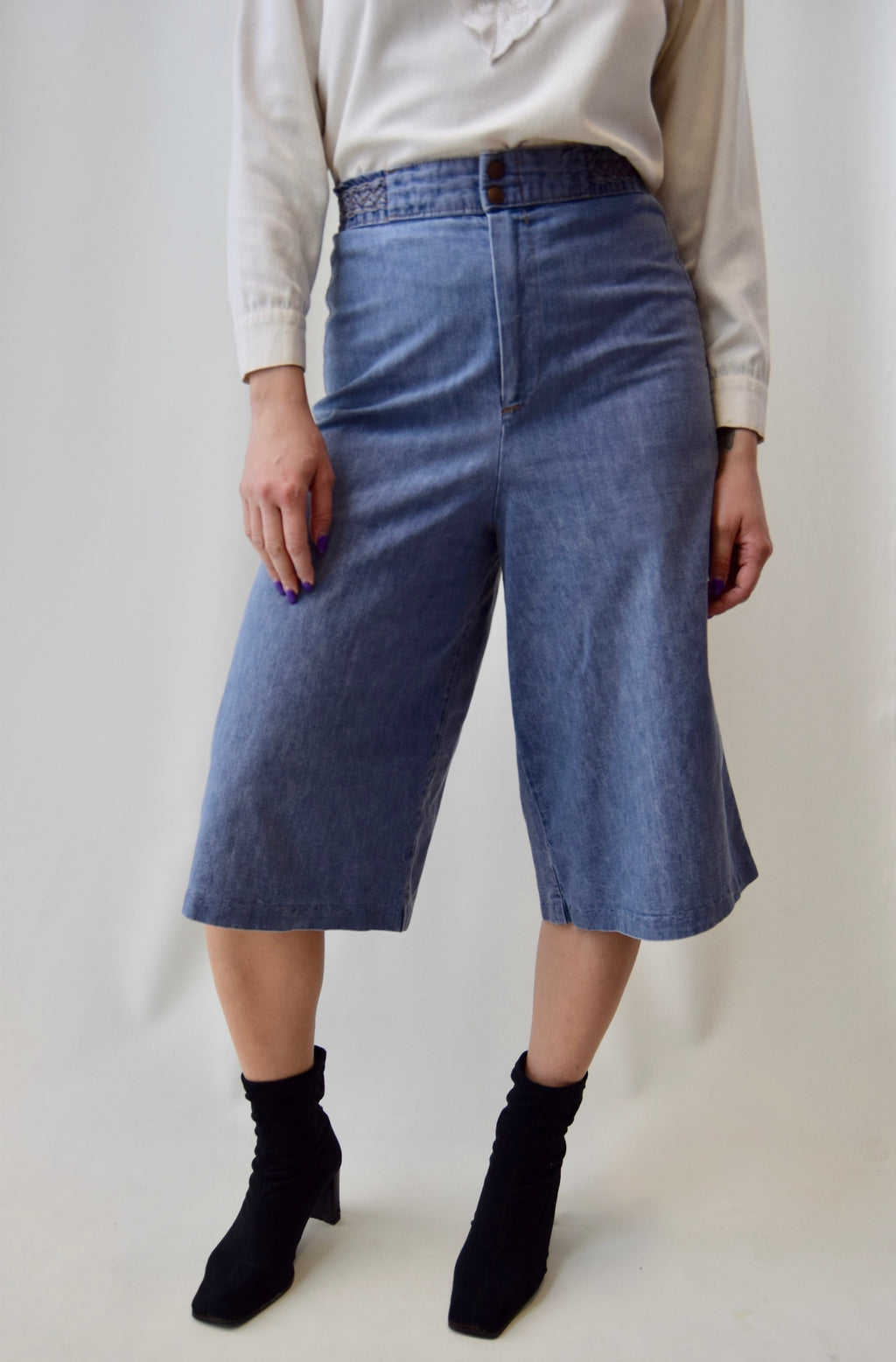 70's Denim Braided Waist Culottes FREE SHIPPING TO THE U.S.
