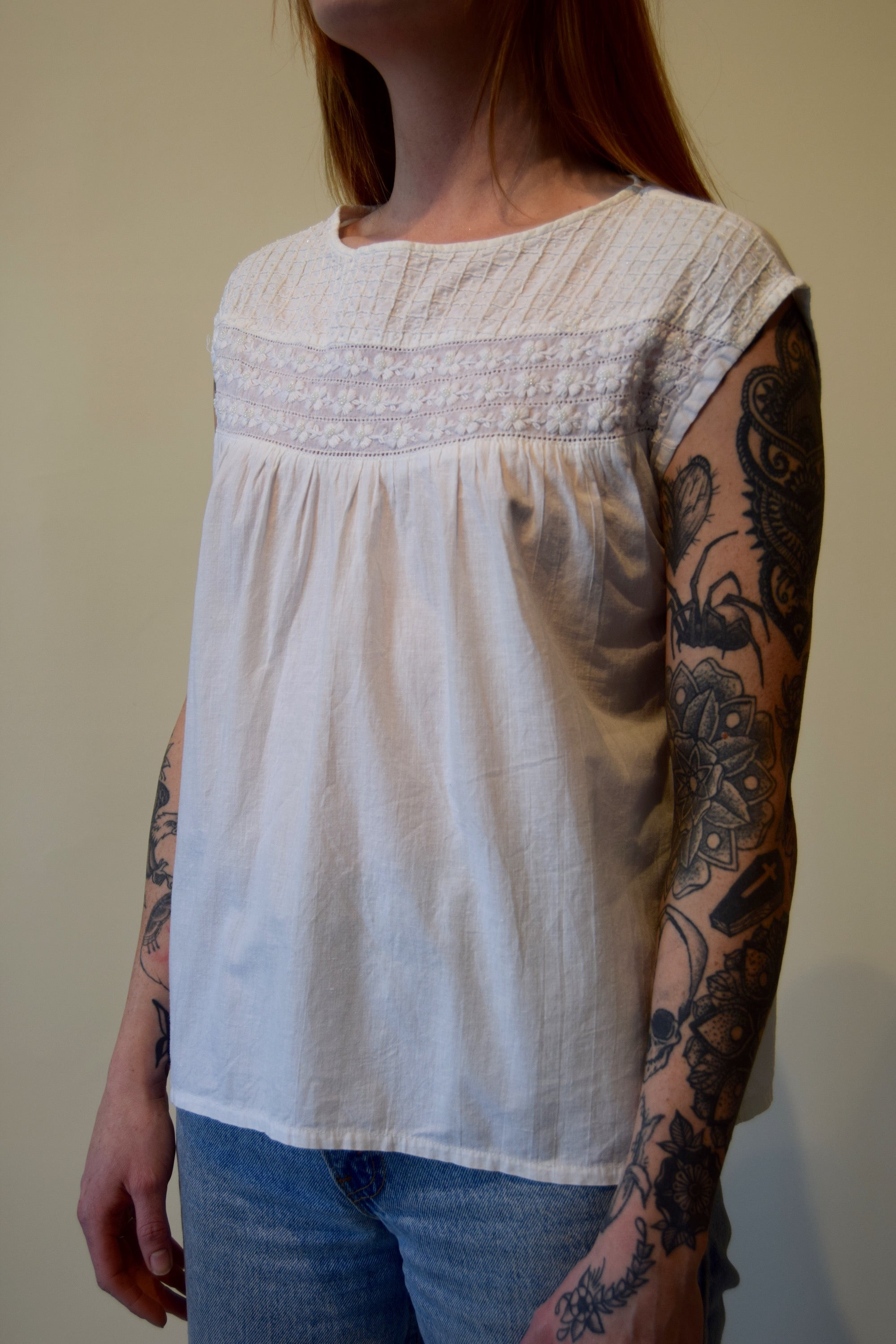 Vintage White Indian Cotton Beaded Sleeveless Top