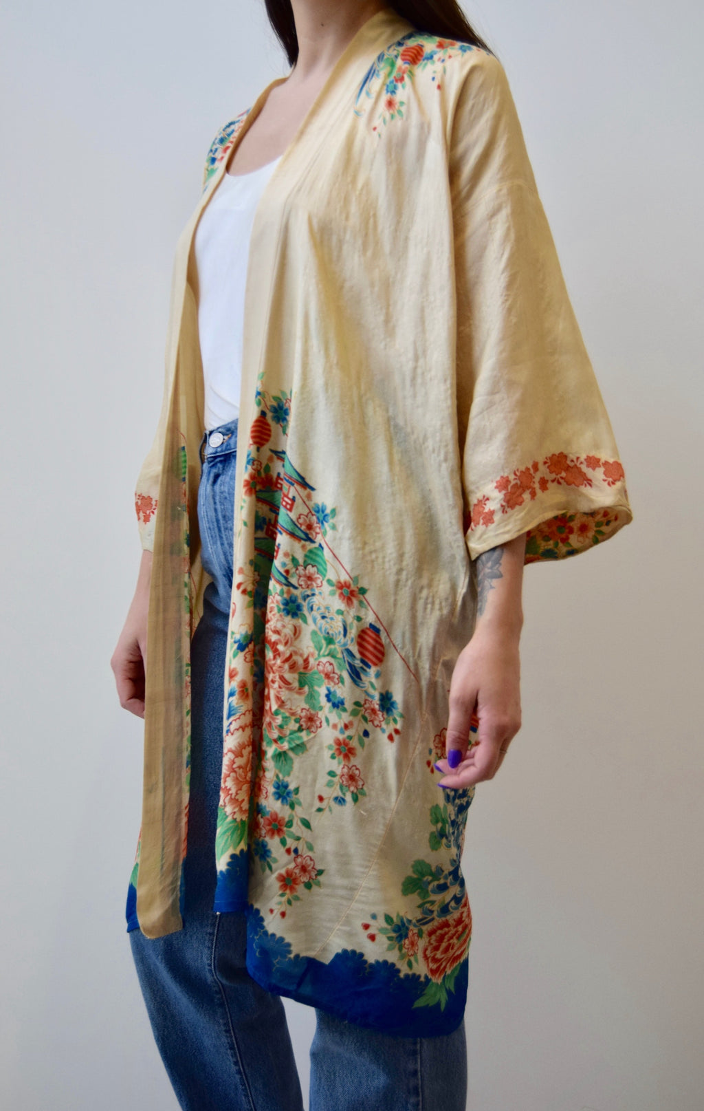 1920's Japanese Pongee Silk Robe FREE SHIPPING TO THE U.S.