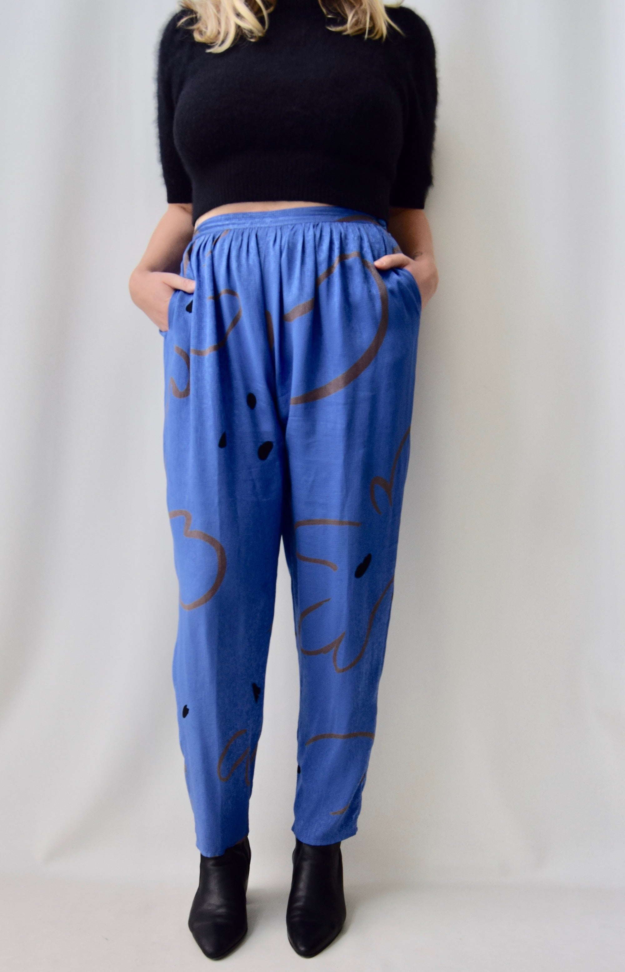 Silk Abstract Flower Pants