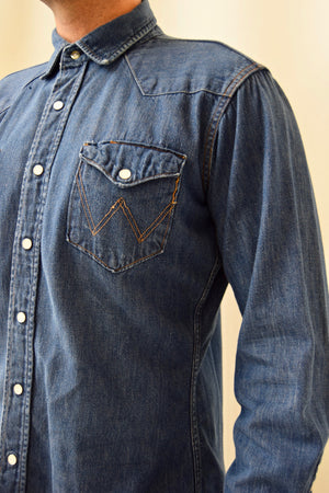 Vintage 1950's Wrangler Blue Bell Denim Snap Shirt